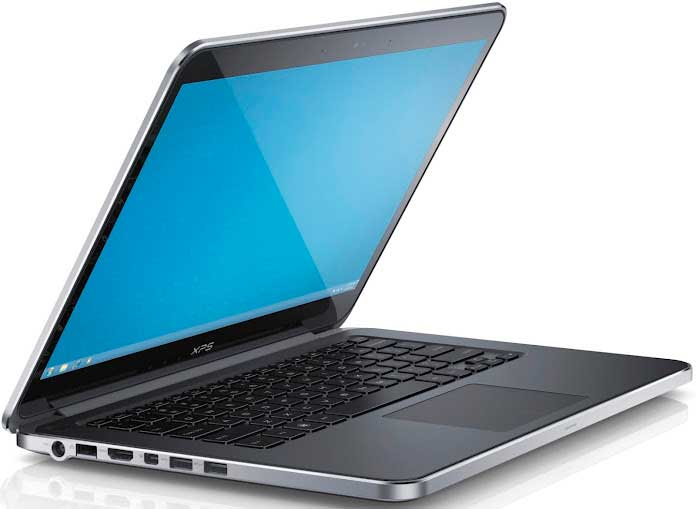 Dell XPS 14 laptop, silver, left angle
