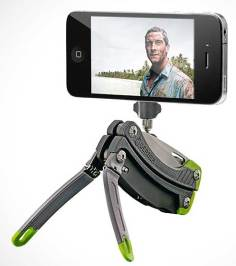 Gerber Steady Tool, its tripod attachment holding a smartphone