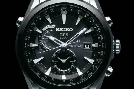 Seiko Astron GPS watch, black and white face