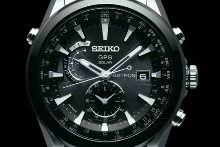 Seiko Astron GPS watch, black and white face