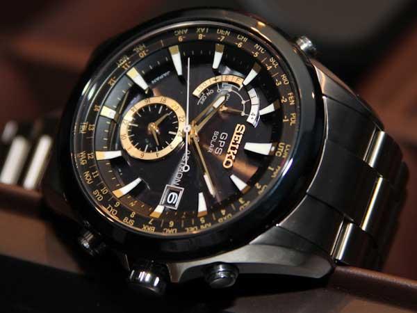Seiko Astron GPS watch, gold face