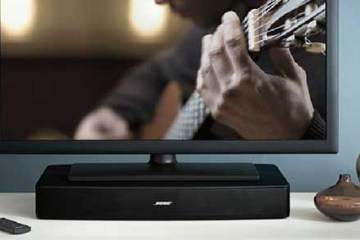 Bose Solo TV Sound System, front view, lifestyle shot