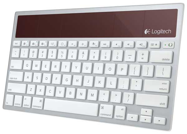 Logitech K7600 wireless solar keyboard, angle