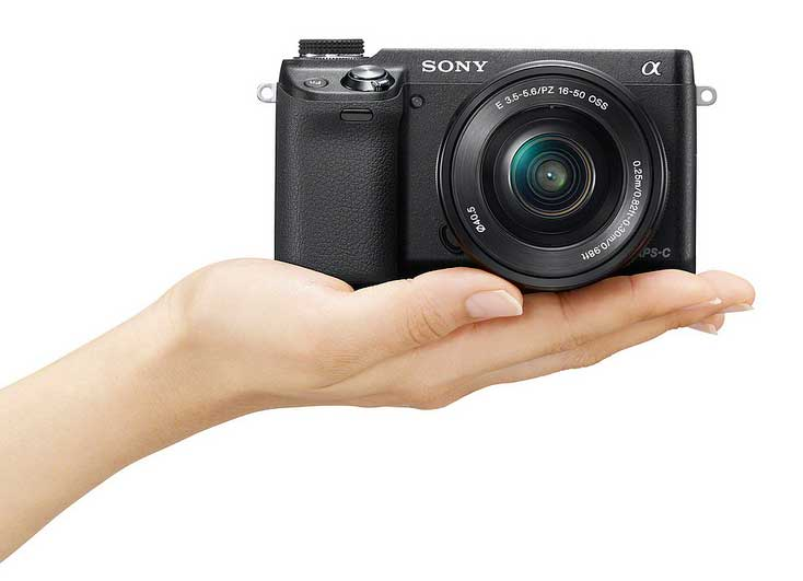 Sony Alpha NEX-6 compact system camera in hand