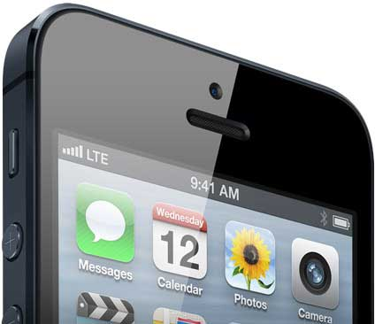 iPhone 5, closeup of the top of the smartphone