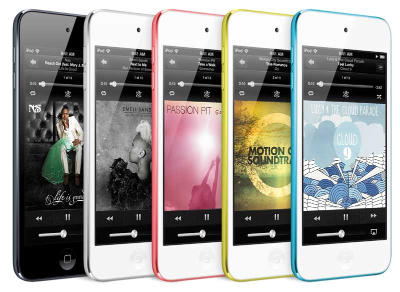 iPod touch 2012, 4th Generation, all colours, angle view