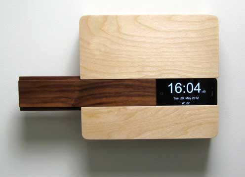 The Butler, by Curtis Micklish, is a wall-mounted place to place your iPhone, wallet, keys and more - front view