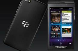 BlackBerry Z10 smartphone, front and back view