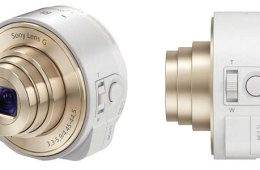 Sony QX10 lens camera in white and gold, front angle and side views