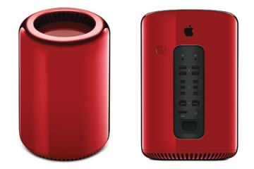 Apple Mac Pro 2013 (PRODUCT) Red, front and back views