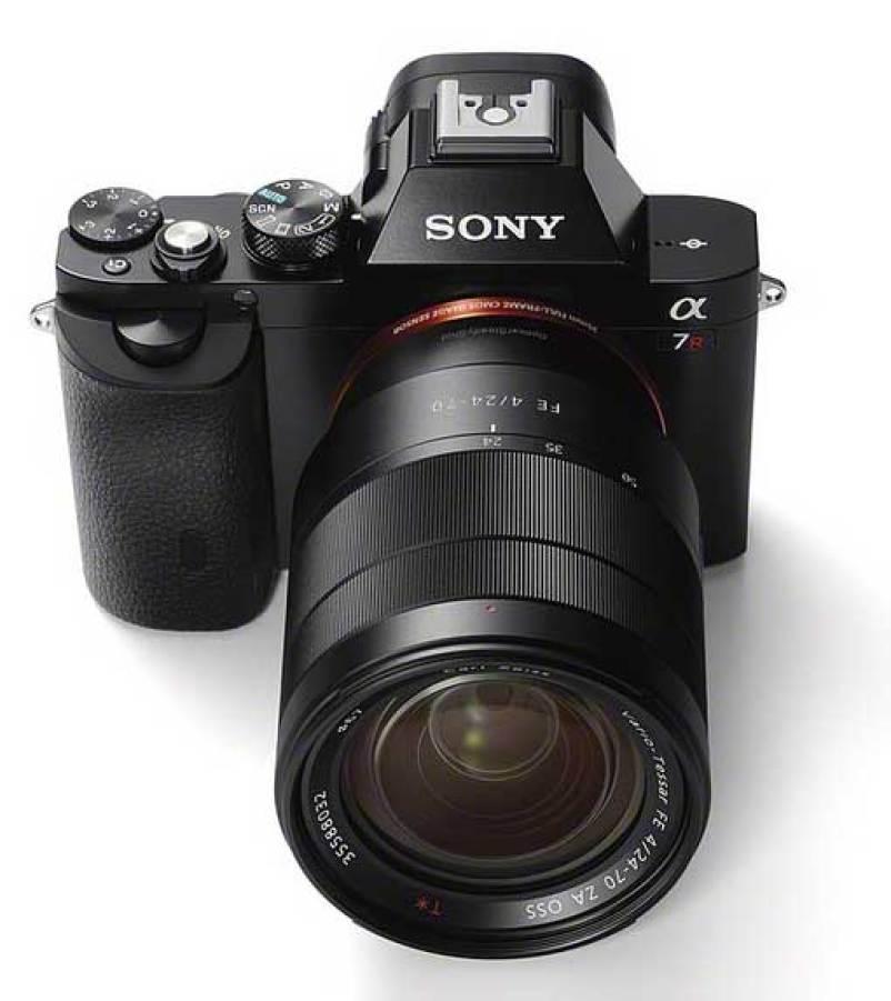 Sony Alpha 7 camera, top angle