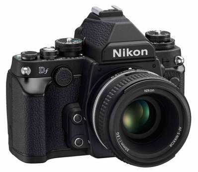 Nikon Df DSLR camera, front left angle view