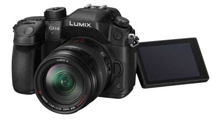 Panasonic Lumix GH4 camera, front angle view, screen out