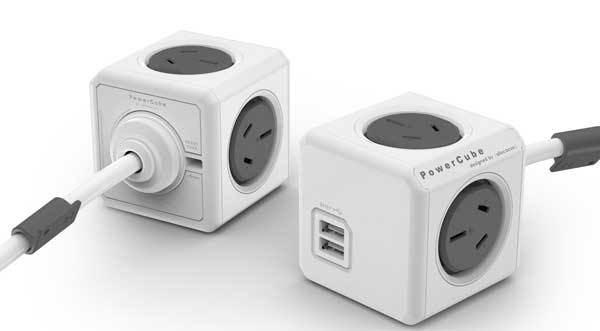 Allocacoc's PowerCube, the world's smallest 4-­?5 multi socket powerboard.