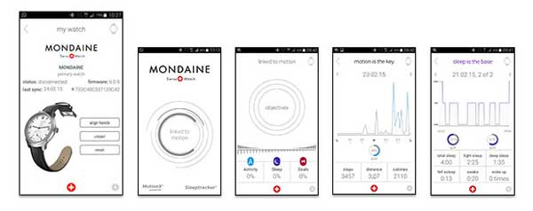 App screens for the Mondaine Helvetica Smartwatch
