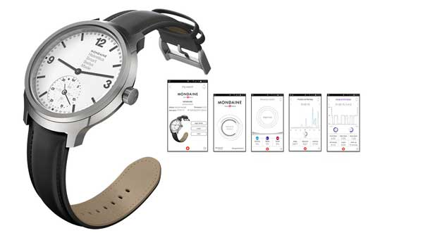 Mondaine Helvetica No 1 Smartwatch, watch and app screens