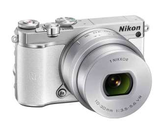 Nikon 1 J5 mirrorless camera white, front angle view