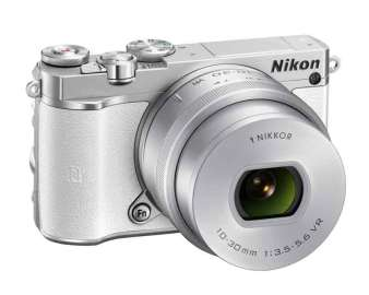 Nikon 1 J5 mirrorless camera white, front angle view