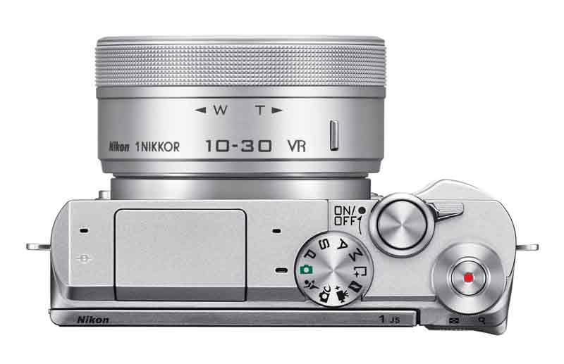 Nikon 1 J5 mirrorless camera white, top view