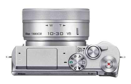 Nikon 1 J5 mirrorless camera white, top view
