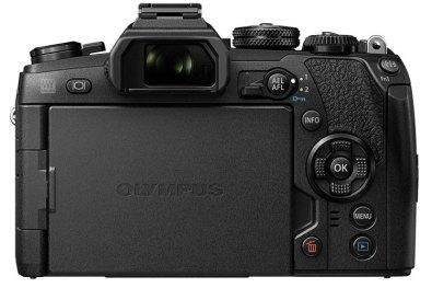 Olympus OM-D E-M1 Mark II rear view, LCD screen closed