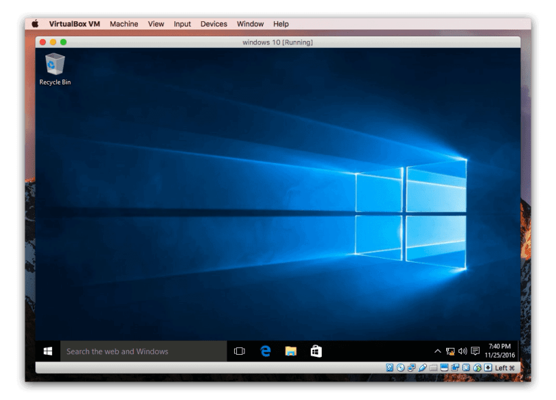 Windows 10 on VirtualBox