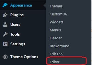 wordpress appearance editor php js css