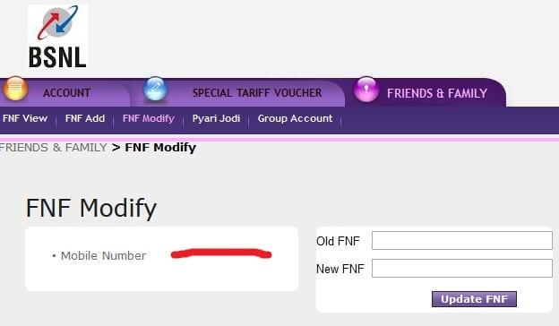 bsnlszprepaid bsnl selfcare fnf number modifyication