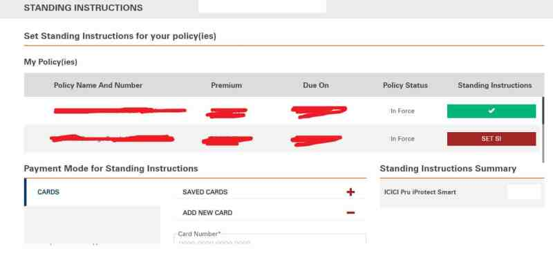 ICICI Bank Standing Instruction Credit Debit Card