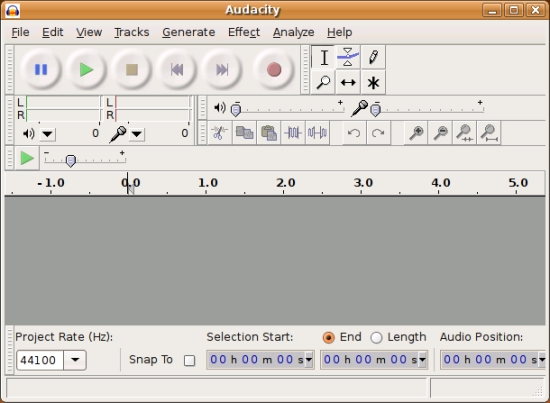 Audacity ejecutándose sobre Ubuntu Linux