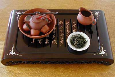 Michael's tea drainer tray with gongfu tea set