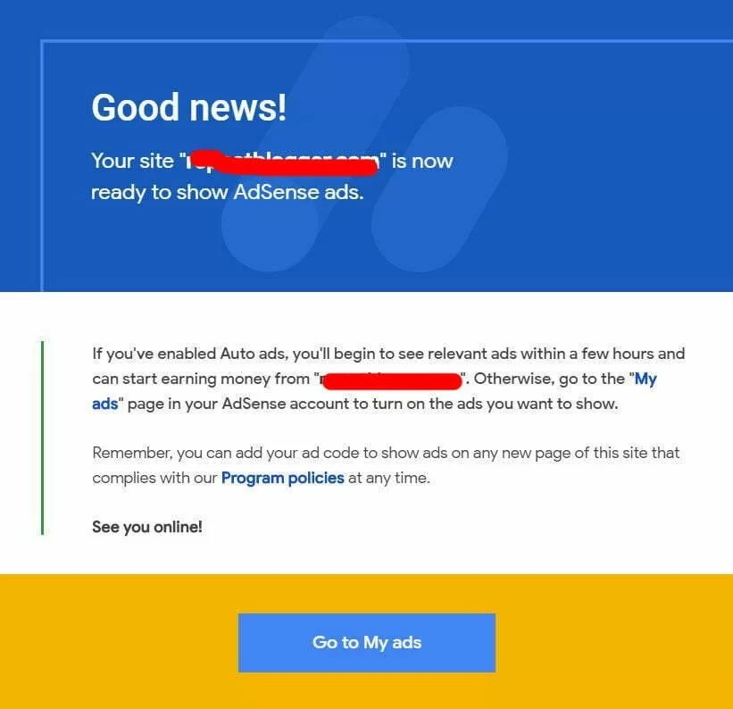 Msg of Google AdSense Approval