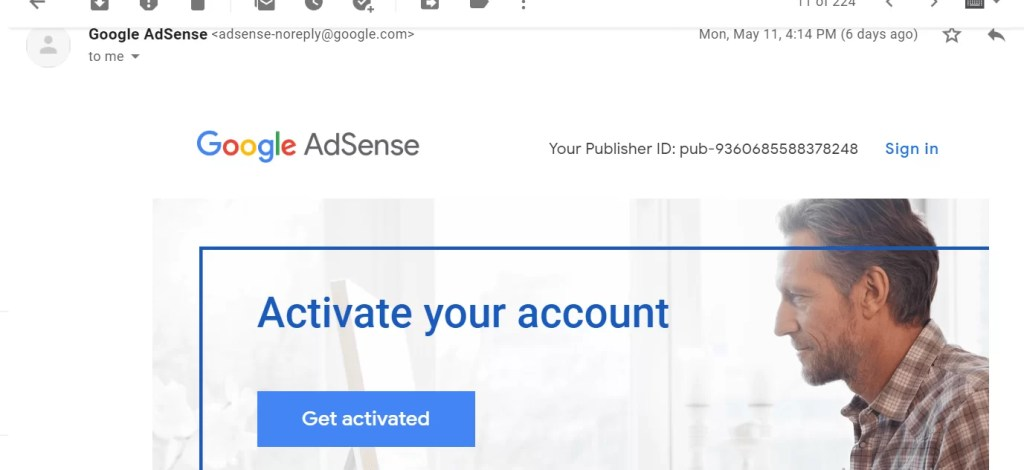 Msg send in gamil account Google AdSense Approval