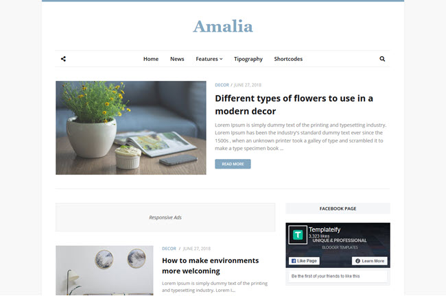 Amalia Blogger Template Free Download