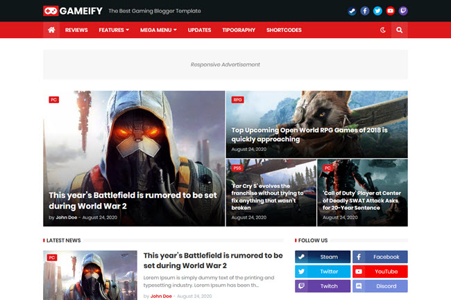 Gameify Blogger Template Free Download