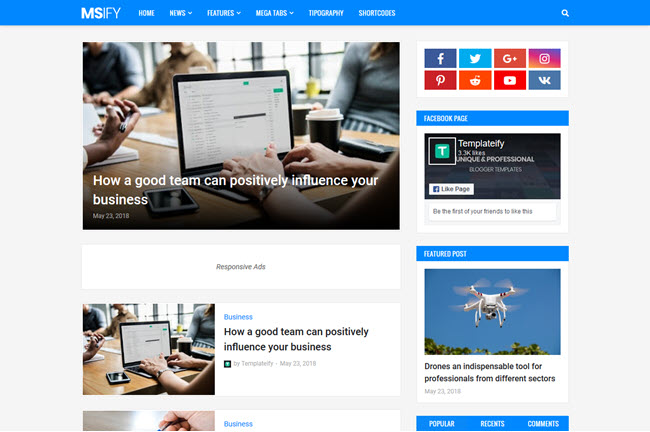 Msify Blogger Template Free Download