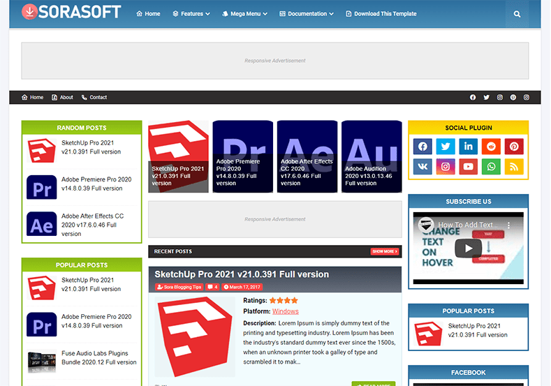 SoraSoft Blogger Template Free Download