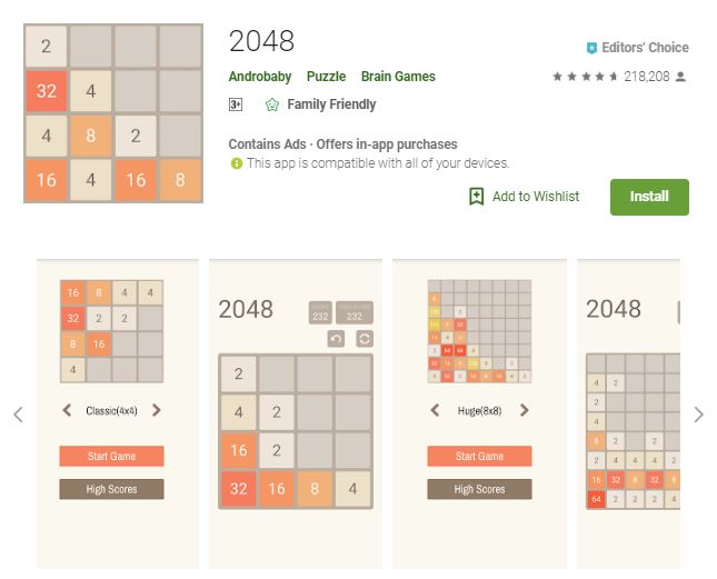 A screenshot image from the game 2048, a 2-dimensional visuals of the game modes, one of the editors choice games