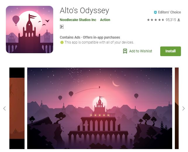 A screenshot image of the game Alto's Odyssey, an image of a beautiful, pinkish sky and a silhouette of a temple, one of the editors choice games