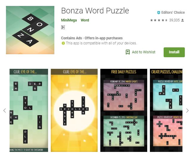 A screenshot image of the game Bonza Word Puzzle, colorful collage of the different game modes, one of the editors choice games