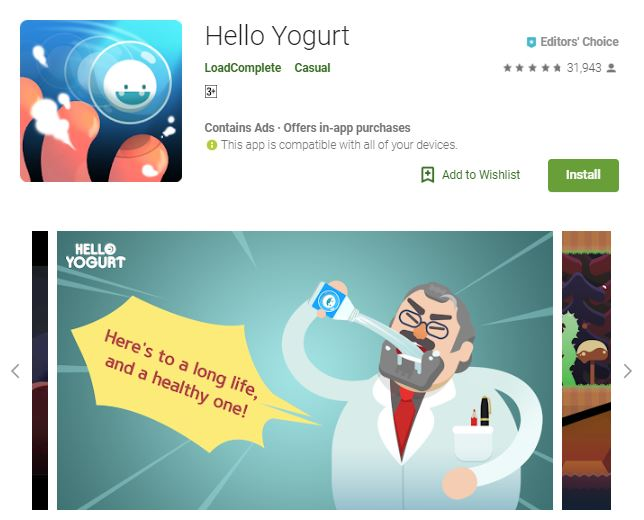 A screenshot image of the game Hello Yogurt, the upper right corner of the image has a smiling, floating bubble-like object and the lower portion has an old man drinking yogurt, one of the editors choice games