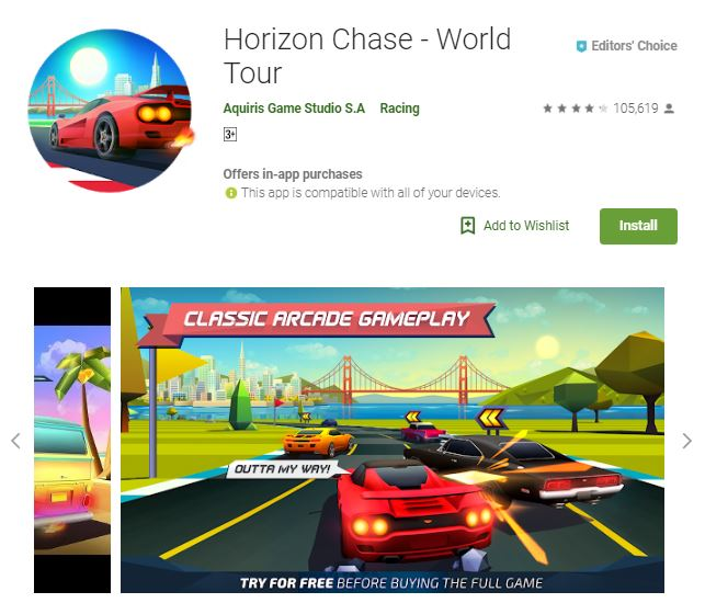 An image of a screenshot of Horizon Chase -World Tour image of red, black, yellow and purple car, one of the editors choice games