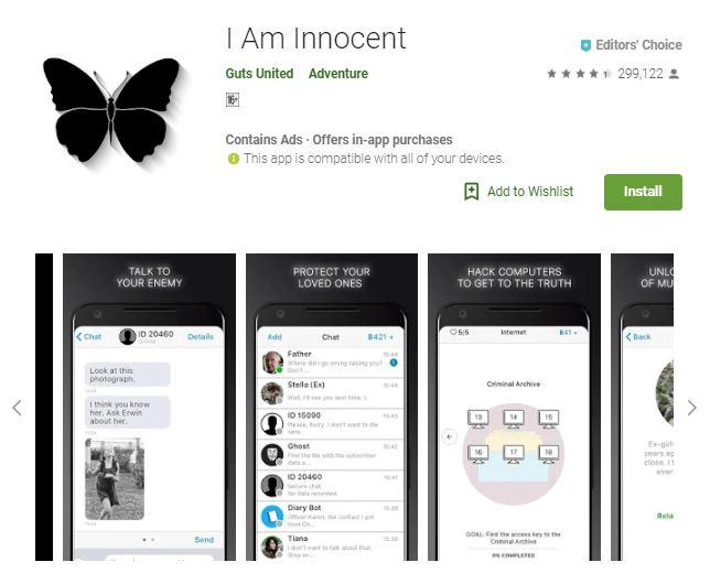An image of a screenshot from the game I Am Innocent, images of  android phones are below an image of a black butterfly, one of the editors choice games