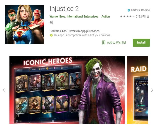 A screenshot image of the game Injustice 2, a 3-dimensional image of the iconic villain Joker and 2-dimensional graphics of the iconic playable heroes, one of the editors choice games