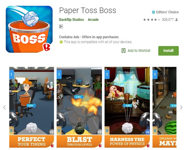A screenshot image of the game Paper Toss Boss, a collage image of the game features, one of the editors choice games