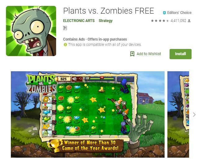 A screenshot image of the game Plants vs. Zombies FREE, an image with a zombie head at the upper left corner of the photo and a lawn with aggressive plants below, one of the editors choice games