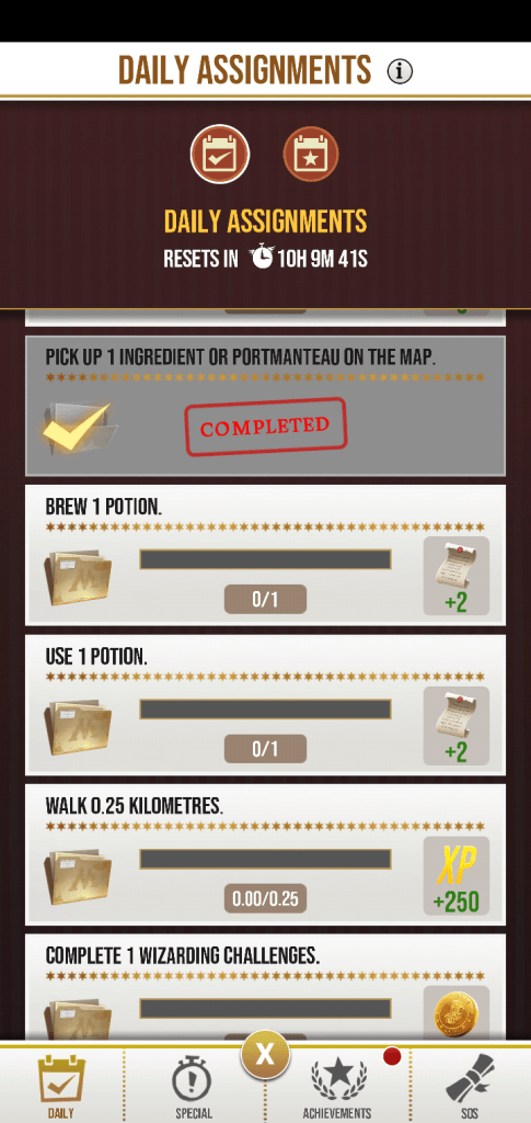A screenshot from the game Harry Potter Wizards Unite, an image of the daily assignments
