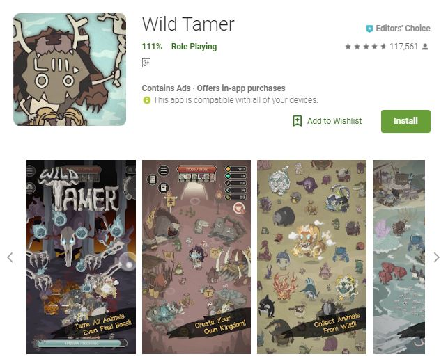 A screenshot image of the game Wild Tamer, photos different kinds of small monsters, one of the editors choice games
