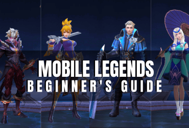 "Collage screenshots of Mobile Legends Heroes, a photo with the text ""Mobile Legends Beginner's Guide"" title"