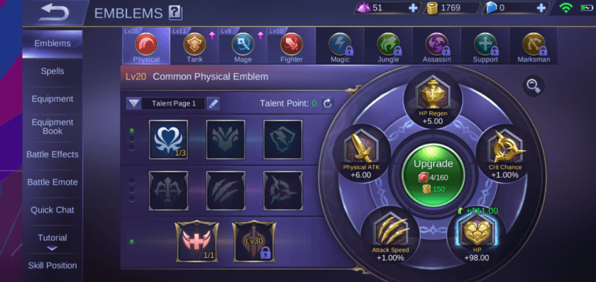 A screenshot from the game Mobile Legends, a photo of different emblem sets